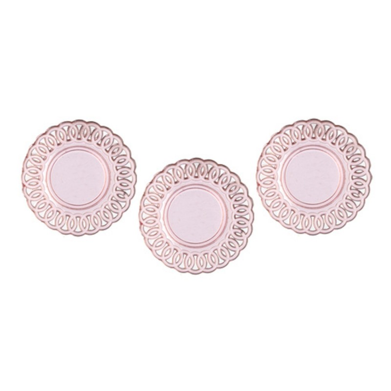 Dolls House Lace Edged Plates Pink Miniature Chrysnbon Dining Room Accessory