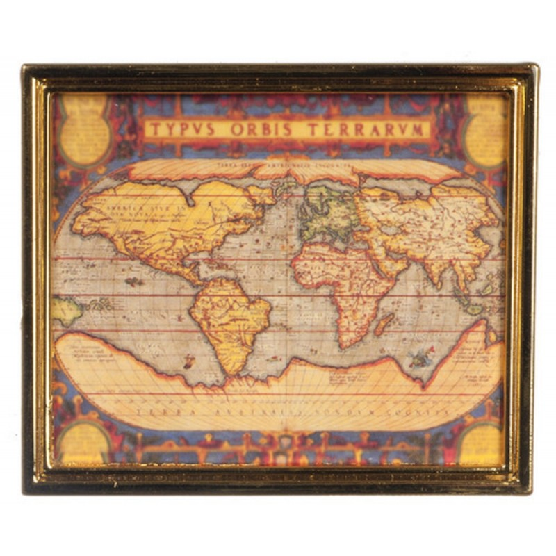 Dolls House Ancient Map in Gold Metal Frame Study Office School Accessory