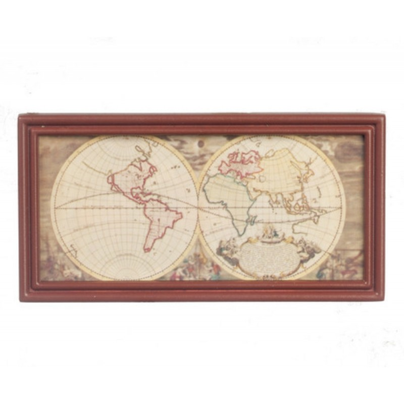 Dolls House Ancient Map in Walnut Wood Frame Study Office School Accessory