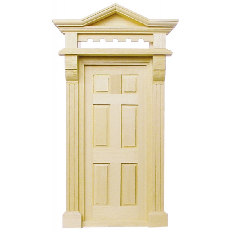 Dolls House Victorian Front Entrance Door 6 Panel Top Light Wooden External DIY