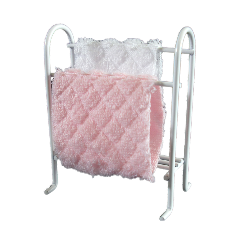 Dolls House White Wire Towel Rail Rack & Pink and White Towels Bathroom Furniture
