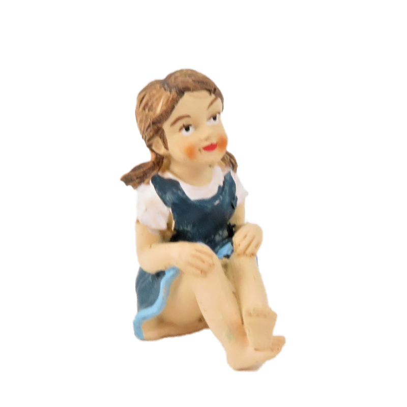 Dolls House Little Girl Sitting Blue Dress 1:12 People Resin Modern Figure