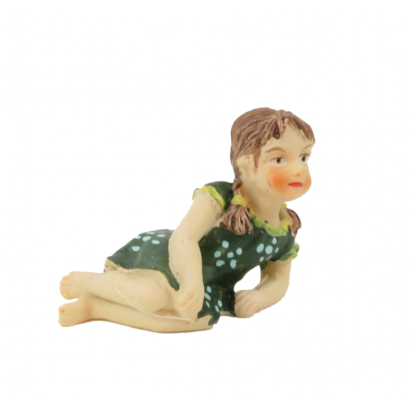 Dolls House Little Girl Lying Down Green Dress 1:12 People Resin Modern Figure