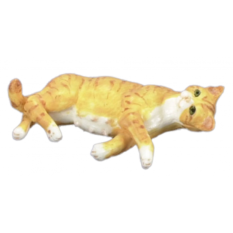 Dolls House Pregnant Orange Cat Lying Down 1:12 Falcon Miniature Pet Animal