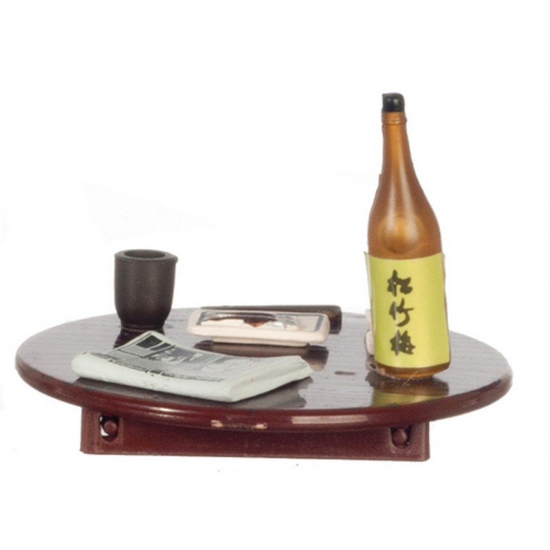 Dolls House Asian Meal on Folding Table with Wine 1:24 Scale Miniature Furniture