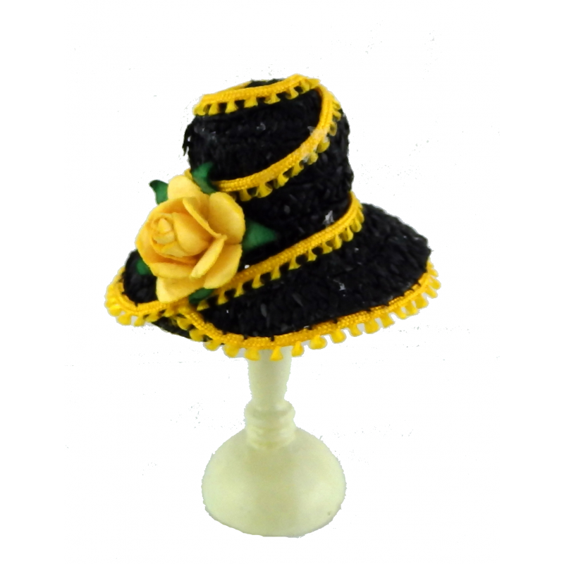 Melody Jane Dolls House Miniature 1:12 Hand Made Millinery Shop Ladies Hat Black