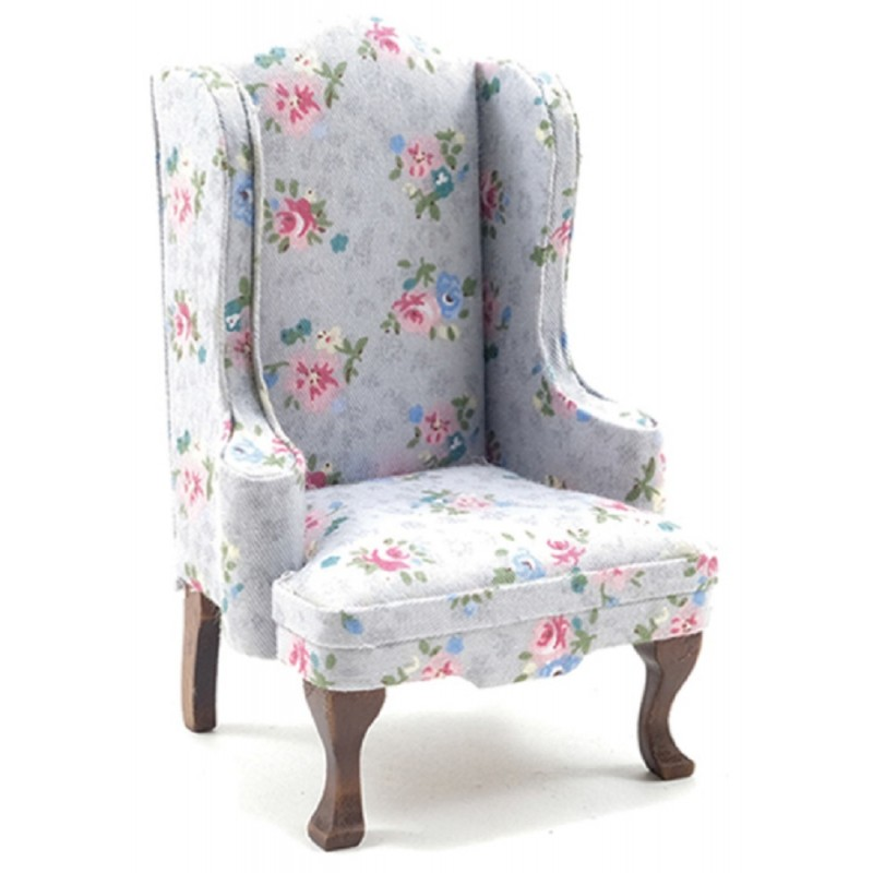 Dolls House Walnut & Grey Floral Wing Armchair 1:12 Gray Living Room Furniture