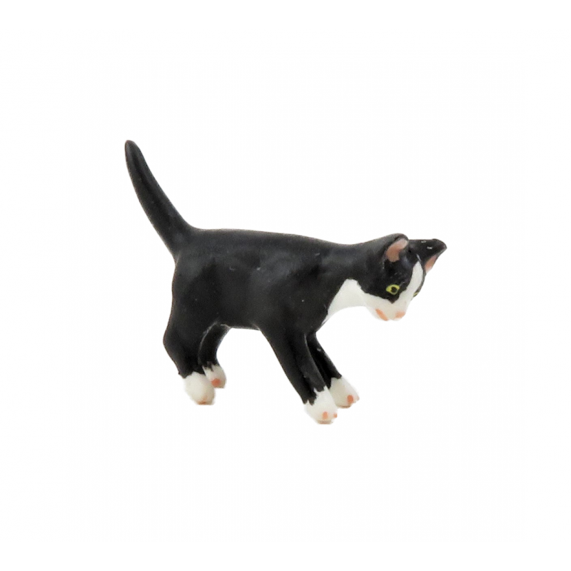 Dolls House Black Kitten White Socks Miniature Pet Animal 1:12 Cat
