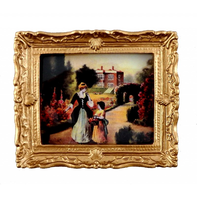 Dolls House Tudor Garden Stroll Painting Gold Frame Miniature Picture Accessory