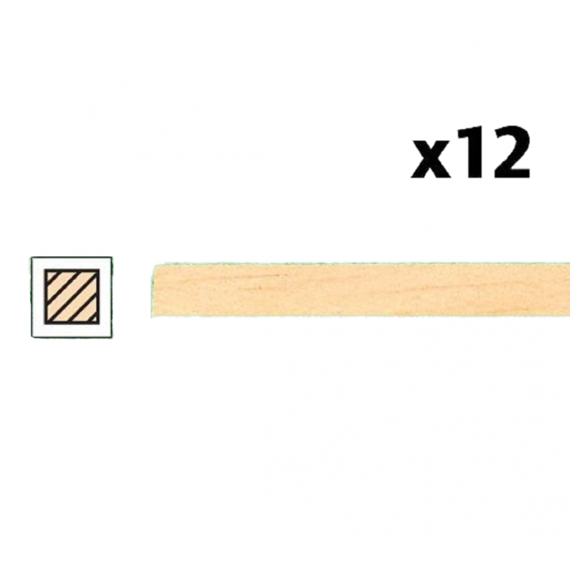 """Dolls House Timber Lengths 24 x 1/8""""  Wooden Strips 610 x 3  mm  Pack of 12"""