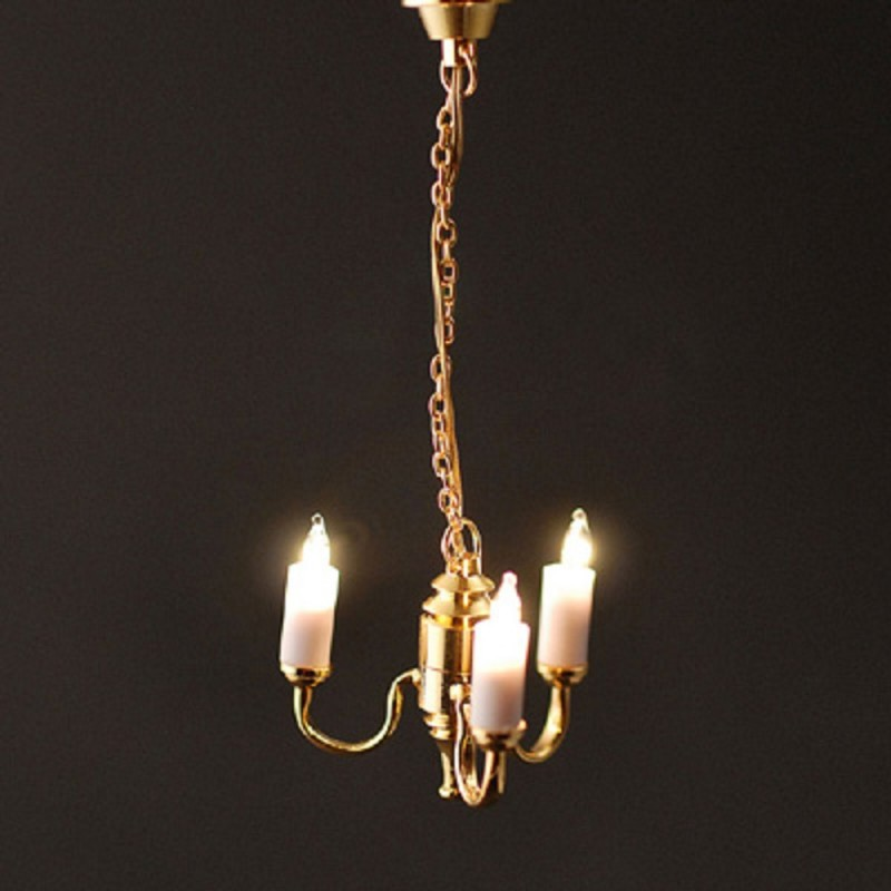 Dolls House Gold 3 Arm Candle Chandelier 12V Electric Lighting
