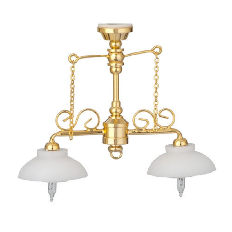 Dolls House Double Counter Light Brass White Bowl Shades 12V Electric