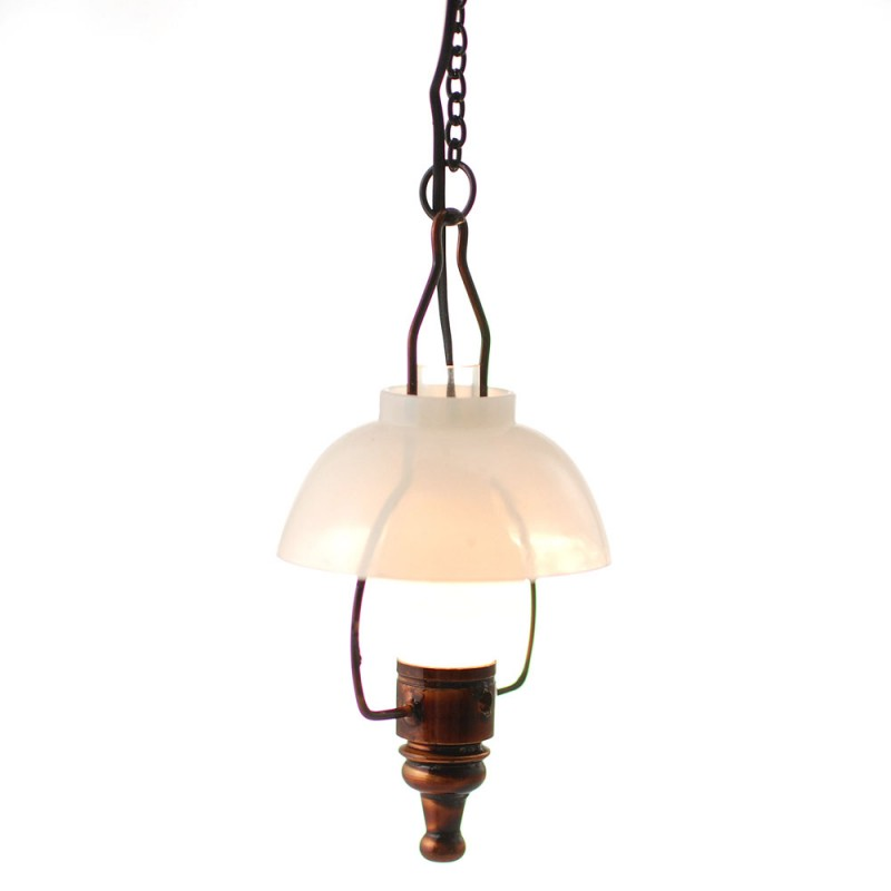 Dolls House American Swag Lamp Bronze White Bowl Shade Electric Ceiling Light