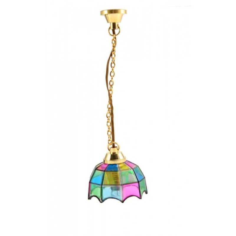 Dolls House Pendant Light with Multi Coloured Shade 12V Electric Lighting