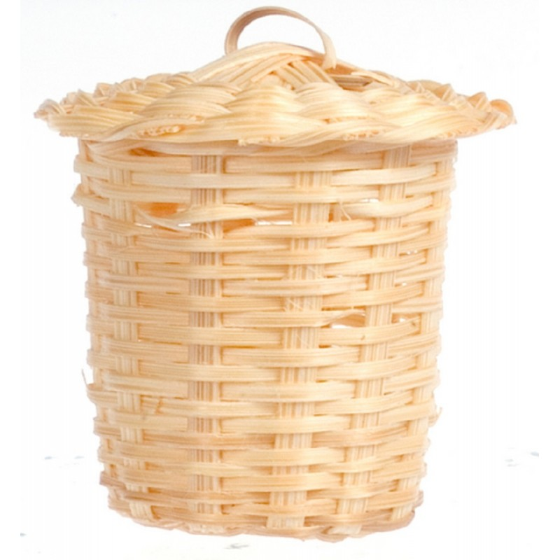 Dolls House Miniature Bathroom Accessory Wicker Laundry Basket 6008