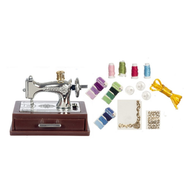 Dolls House Silver Sewing Machine Mounted with Drawer & Accessory Set
