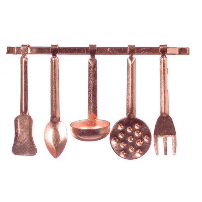 Dolls House Miniature 1:12 Scale Kitchen Accessory Copper Hanging Utensils and Rack