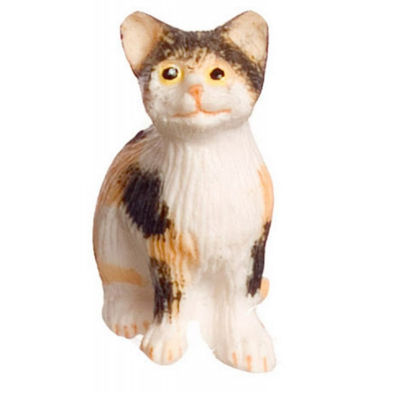 Dolls House Calico Cat Sitting Miniature 1:12 Scale Pet Animal