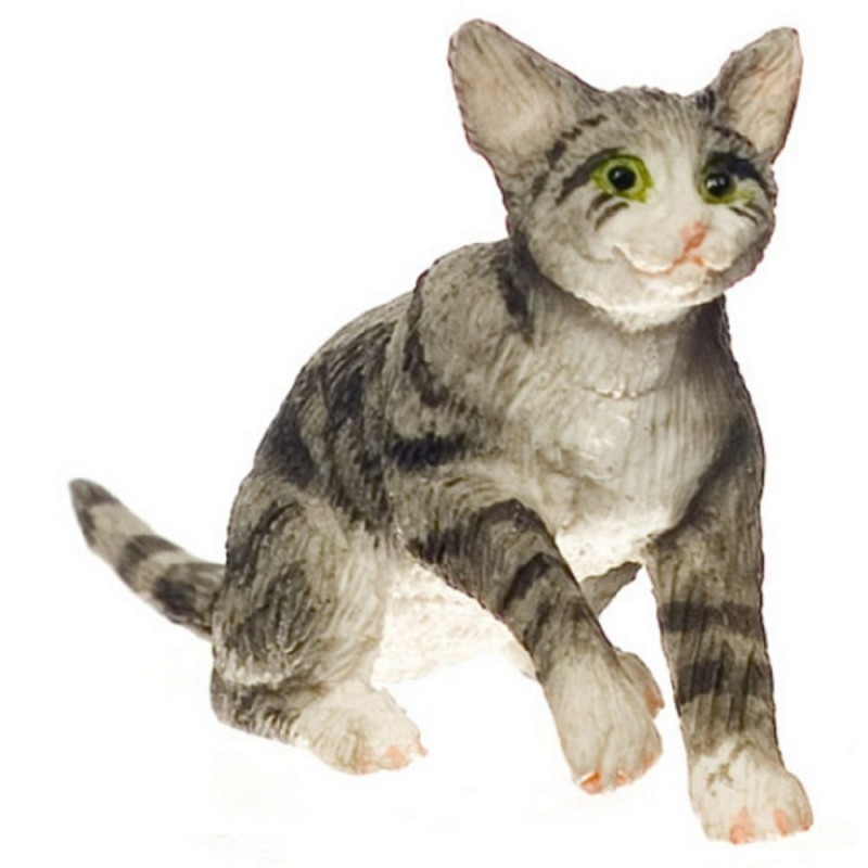 Dolls House Grey Cat Grabbing Miniature 1:12 Scale Pet Animal