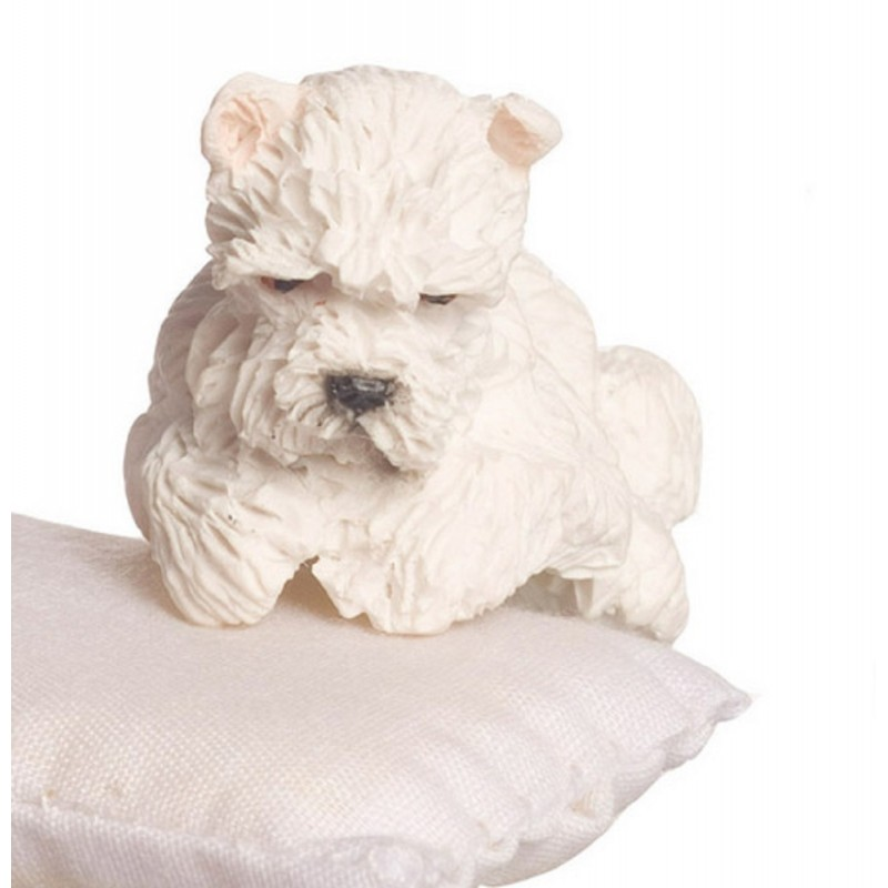 Dolls House White West Highland Terrier Sitting Paws Resting Miniature Pet Dog