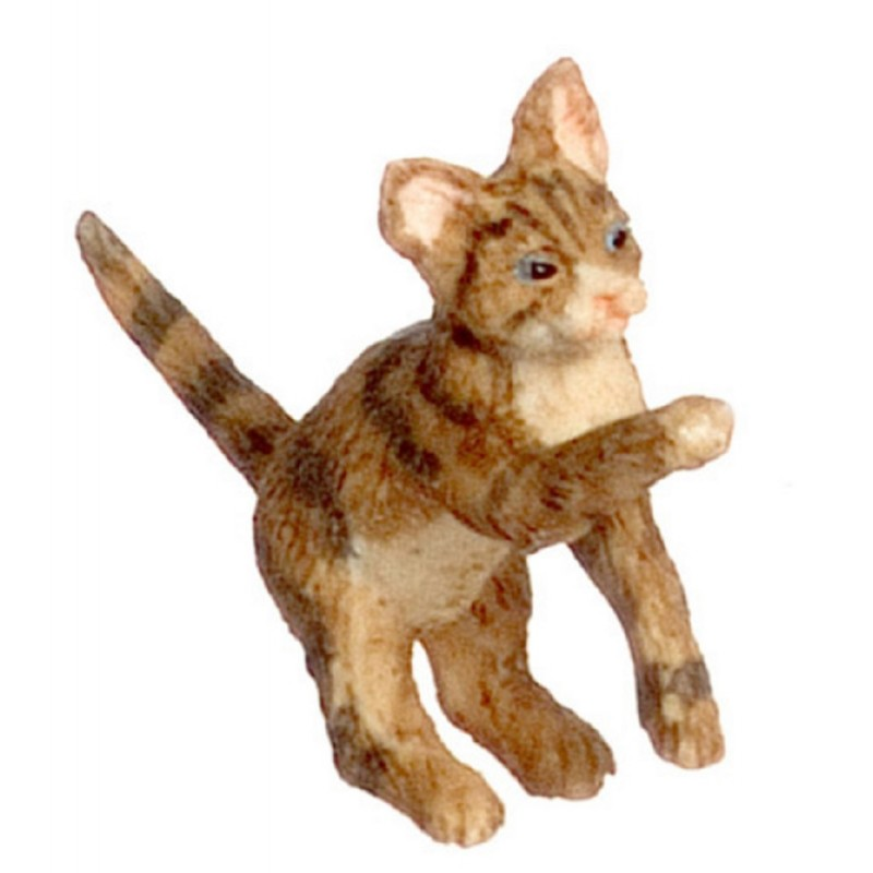 Dolls House Brown Cat one Hind Legs One Paw Up Miniature 1:12 Scale Pet Animal