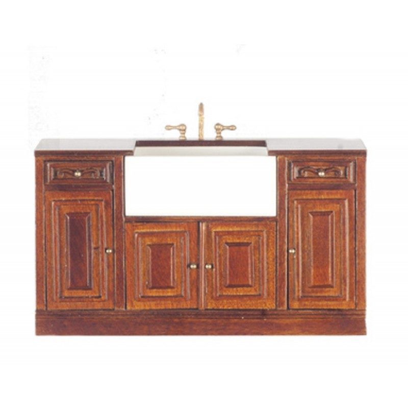 Dolls House Walnut Sink Unit Platinum Collection Kitchen Furniture