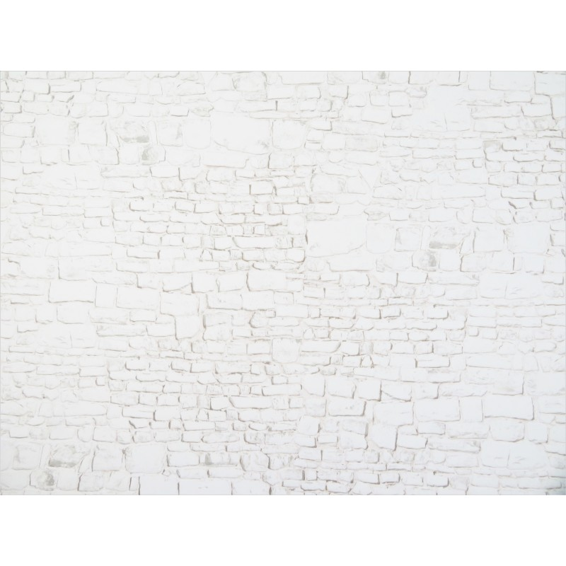 Dolls House Embossed Whitewashed Stone Wall Exterior DIY Card Sheet 1:12 Scale