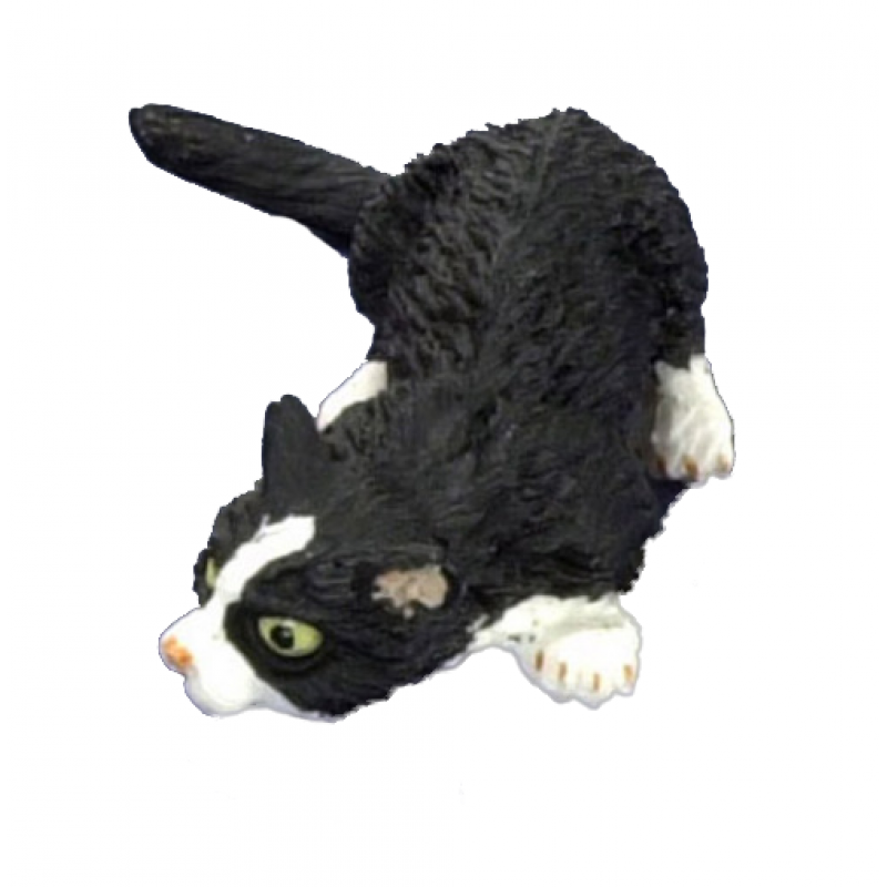 Dolls House black & White Cat Sniffing the Ground Miniature 1:12 Pet Animal