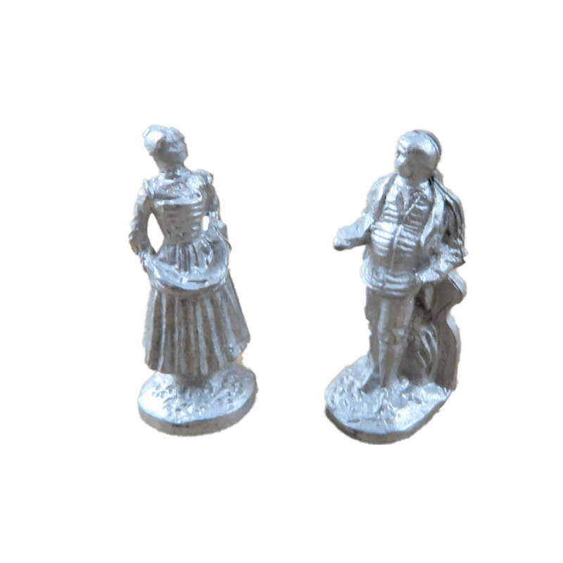 Dolls House Pair of Figurines Ornaments 1:24 Scale Half Inch Metal Accessory