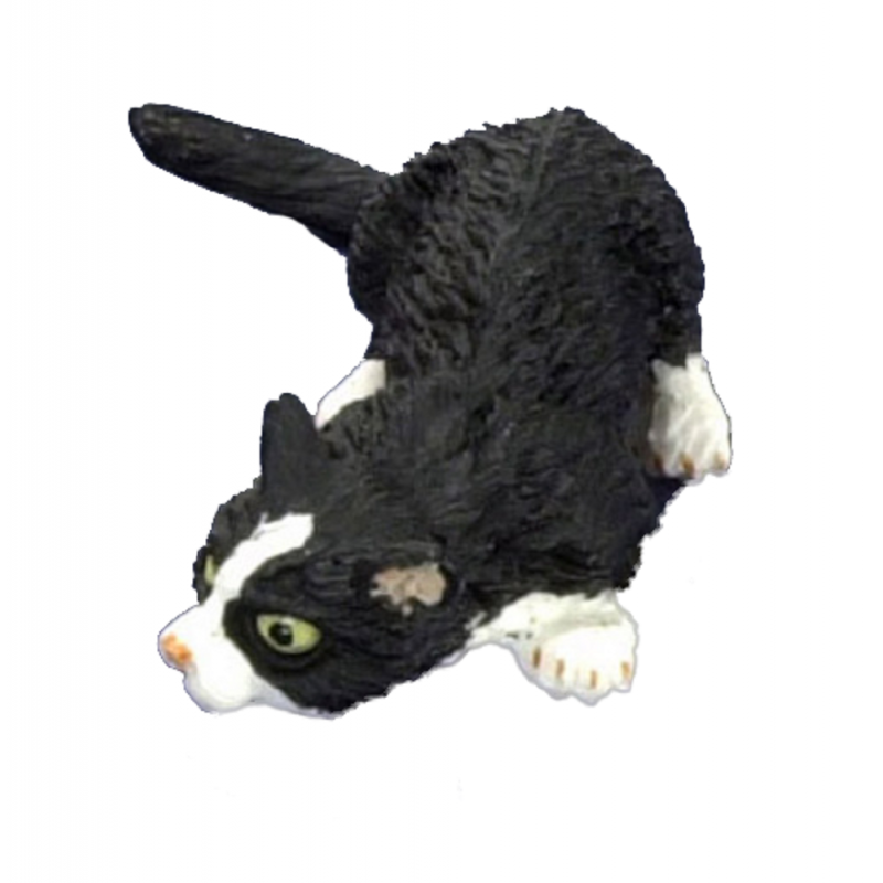 Dolls House Black Cat White Socks Sniffing the Ground Miniature 1:12 Pet Animal