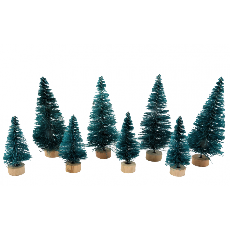 Dolls House 8 Christmas Conifer Trees Miniature Garden Scene Accessory