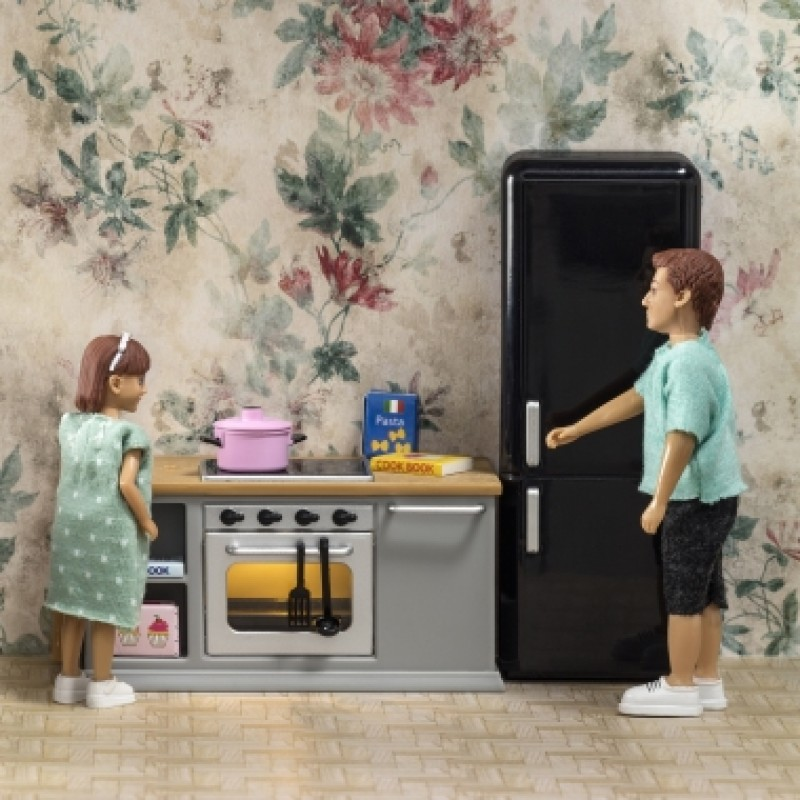 Lundby Dolls House Grey Kitchen Furniture 1:18 Gray Cooker Oven Fridge Set