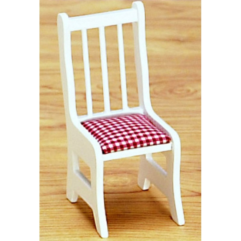 Dolls House White Side Chair Kitchen Dining Room Furniture Wooden 1:12 Scale