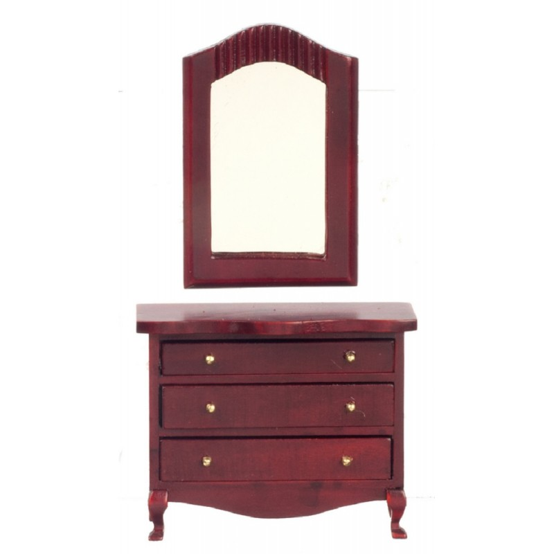 Dolls House Mahogany Chest of Drawers & Mirror Low Dresser Bedroom Furniture