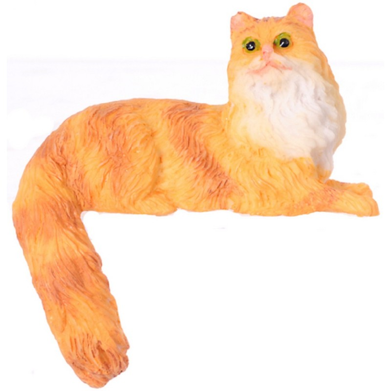 Dolls House Semi Long Hair Orange Cat Sitting Tail Hanging Miniature 1:12 Pet