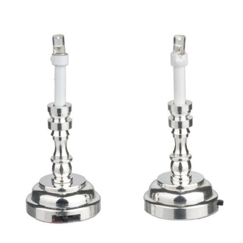 Dolls House Pair of Silver Candlesticks LED Battery Lights 1:12 Lamps