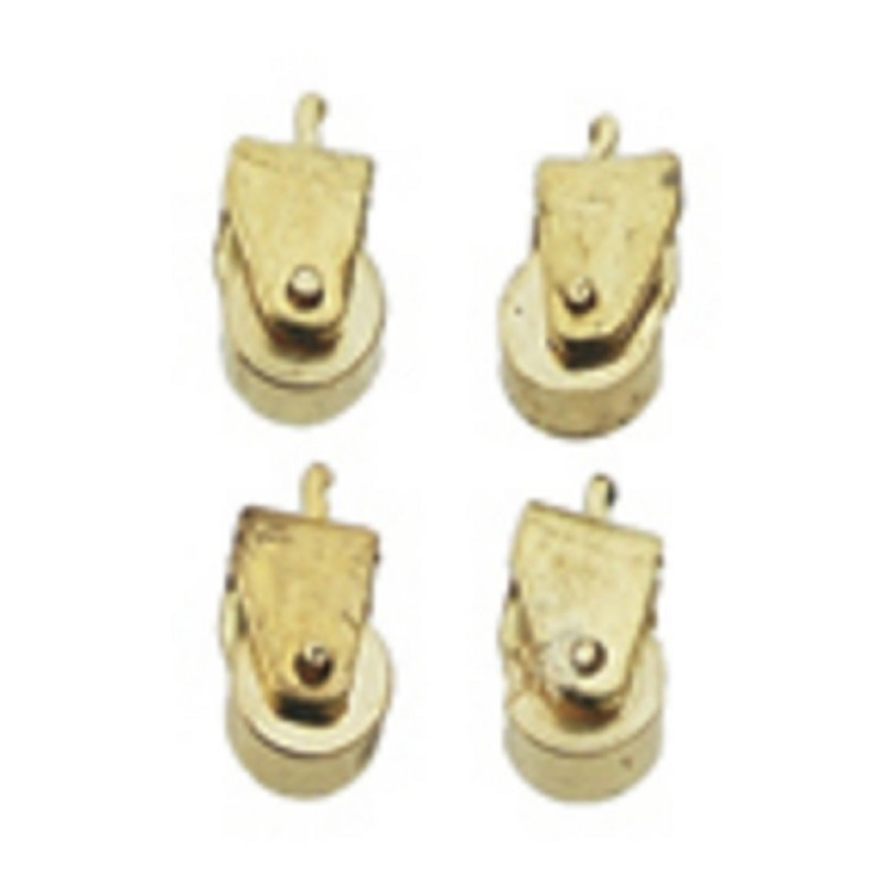 Dolls House Solid Brass Casters Miniature Hardware Pack of 12