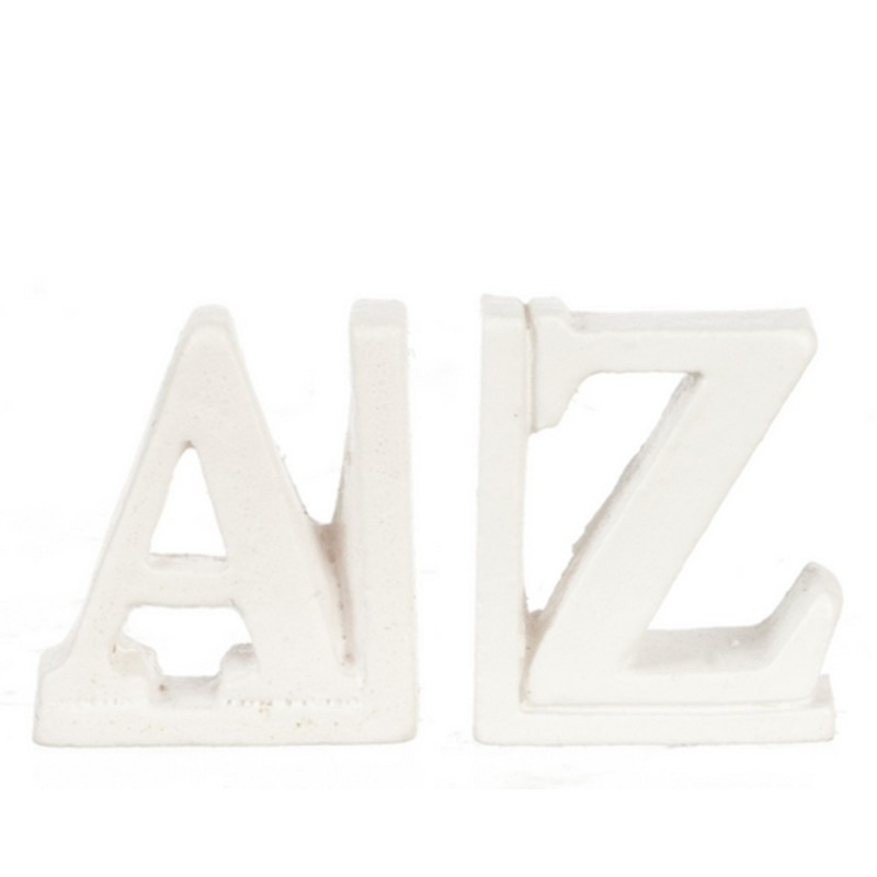 Dolls House Modern White A-Z Book Ends Bookends Miniature 1:12 Accessory