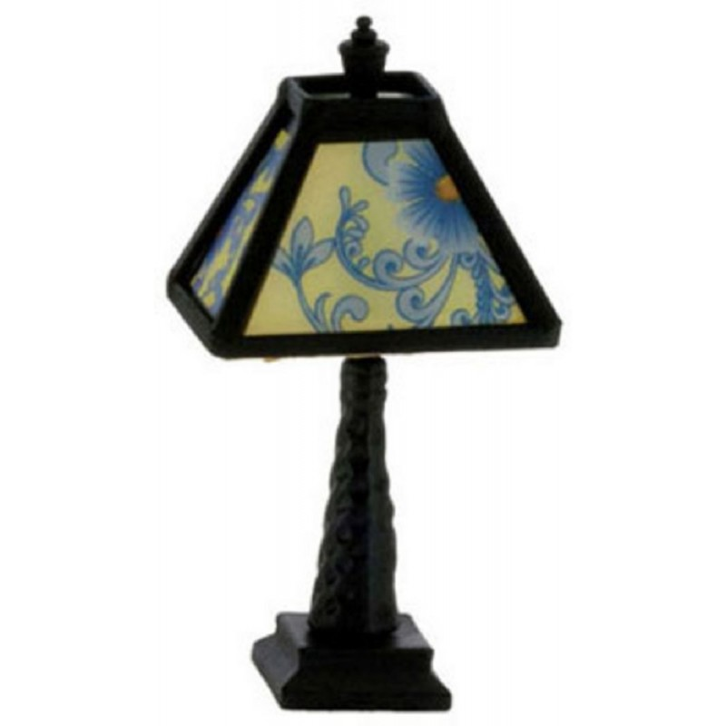 Dolls House Black Table Lamp Blue Patterned Shade 12V Electric Lighting