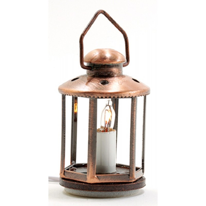 Dolls House Copper Lantern with Candle Light 12V Lamp Electric Lighting