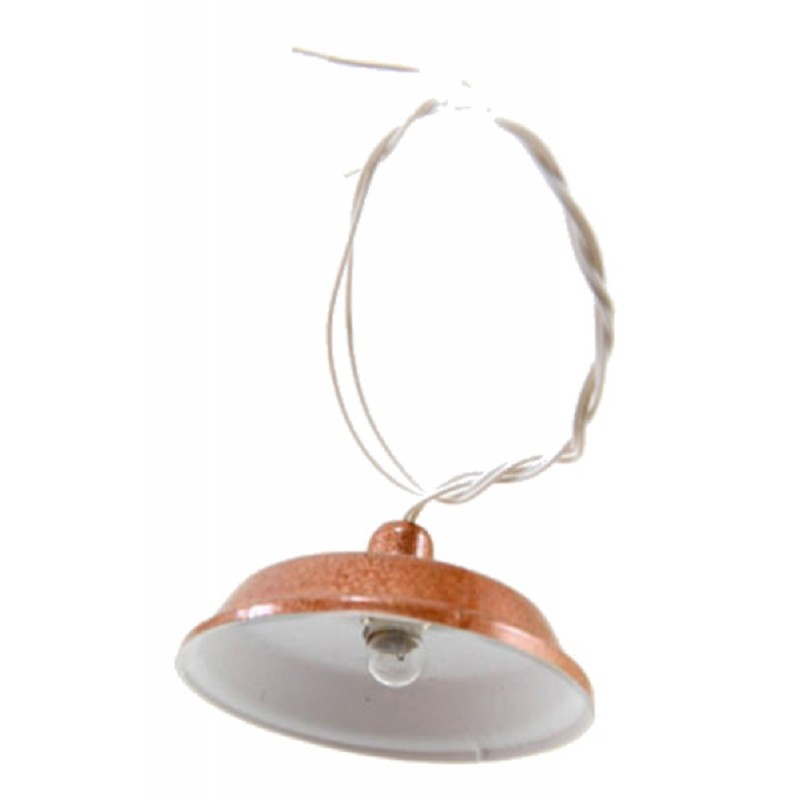 Dolls House Utility Light with Copper Shade 12V Electric Ceiling Lighting