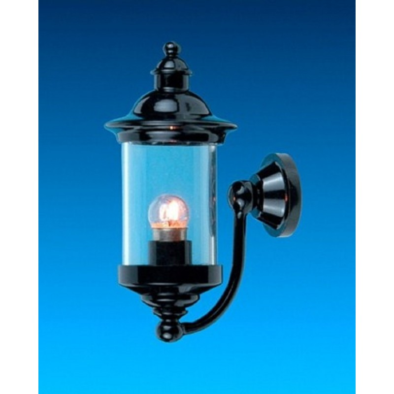 Dolls House Black Carriage Coach Lamp Cylinder Outside Wall Light 12V Electric