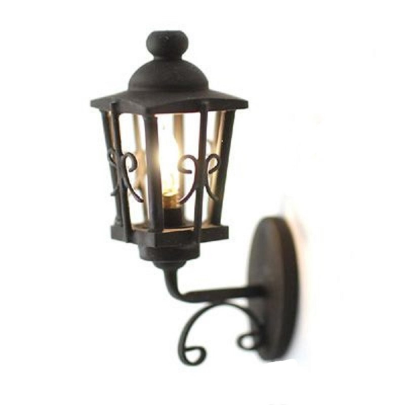 Dolls House Black Carriage Coach Lamp Ornate Outside Wall Light 12V Electric
