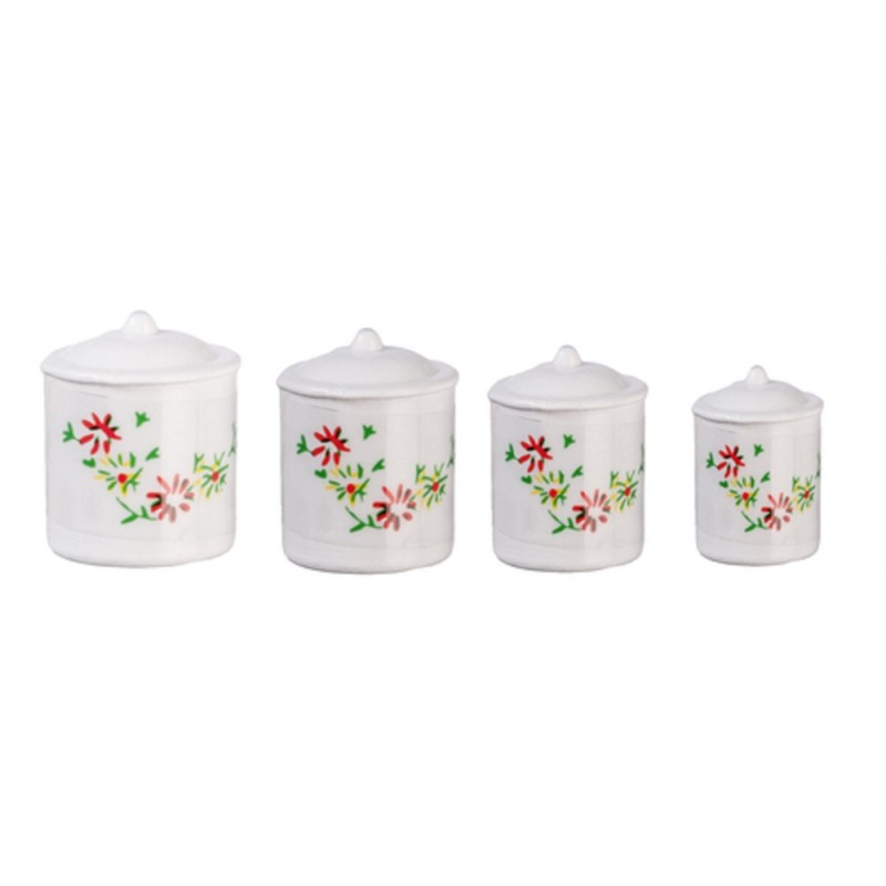 Dolls House Miniature 1:12 Scale Kitchen Accessory White Canister Set Fleur