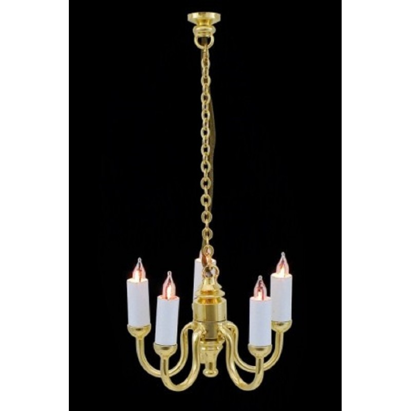Dolls House 5 Arm Candle Light Chandelier 1:24 Scale Half Inch