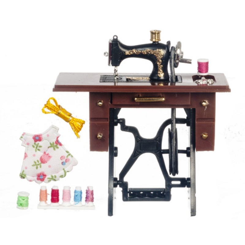 Dolls House Black Treadle Sewing Machine with Accessory Set