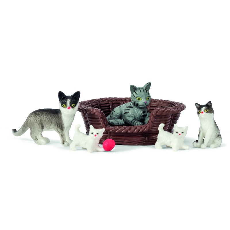 Lundby Dolls House Pet Set Cat Family with Kittens and Basket