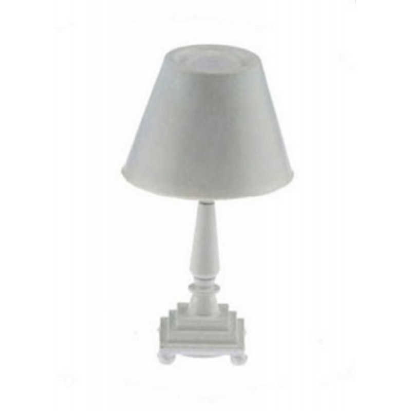 Dolls House Modern Table Lamp White Base & Shade 12V Electric Lighting