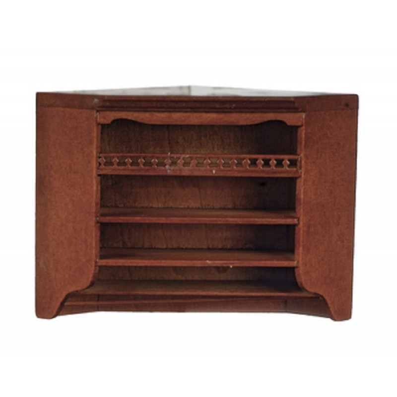 Dolls House Walnut Corner Wall Unit Cabinet JBM Miniature Kitchen Furniture