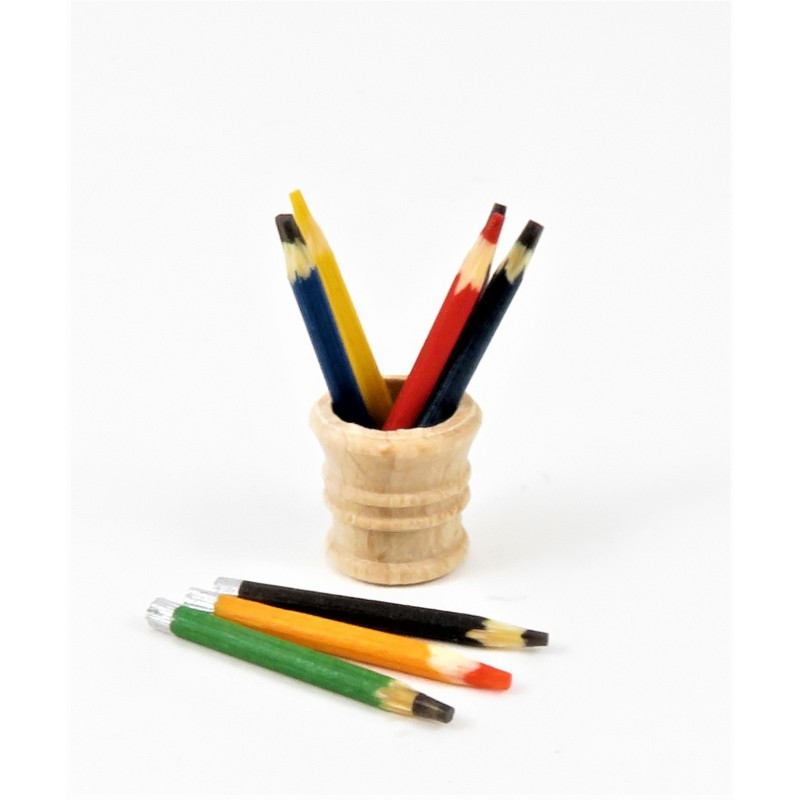 Dolls House Wooden Pencils & Holder Miniature School Study Desk Accessory